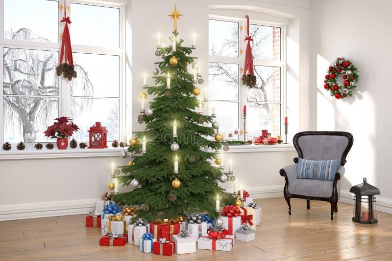3d framför av en nordisk vardagsrum med julträdet royaltyfri illustrationer