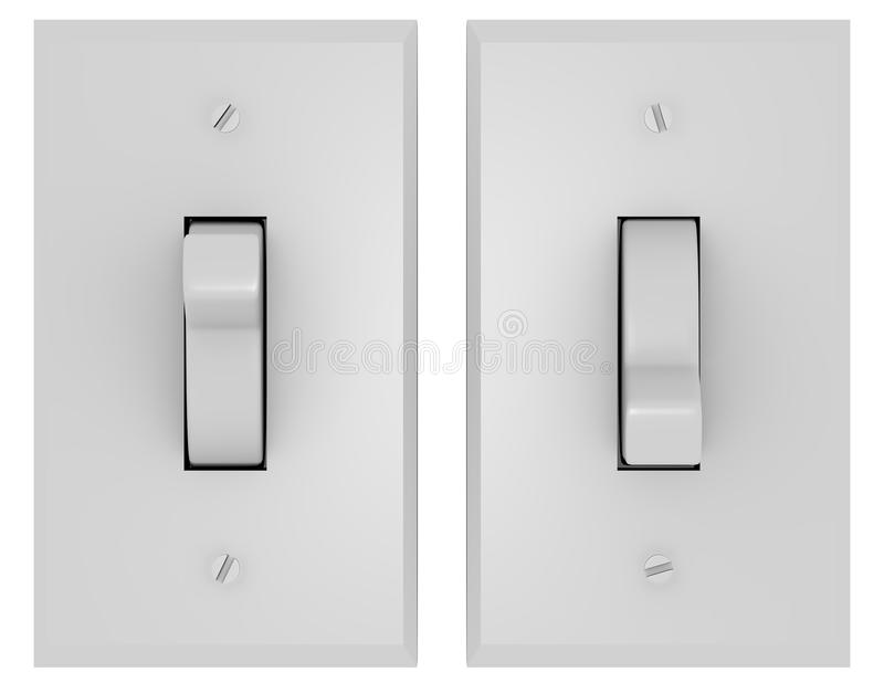 3d framför av ett par av ljusa strömbrytare vektor illustrationer
