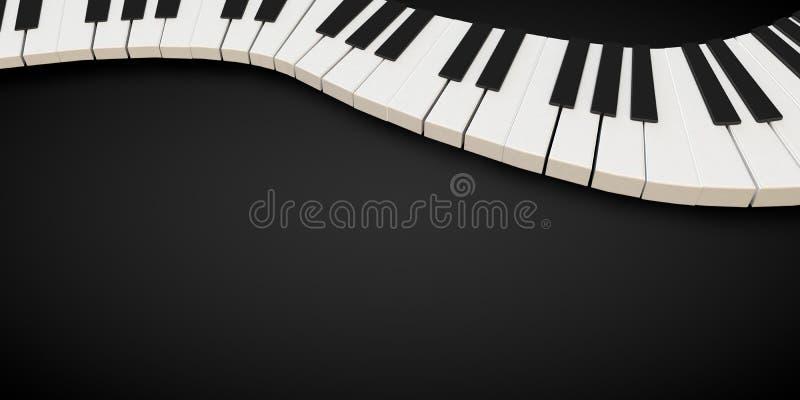 3d framför av ett pianotangentbord i en fluid wavelike rörelse stock illustrationer