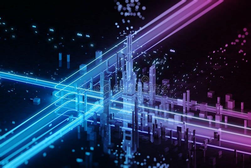 3D framför av futuristisk stad Stora data stock illustrationer