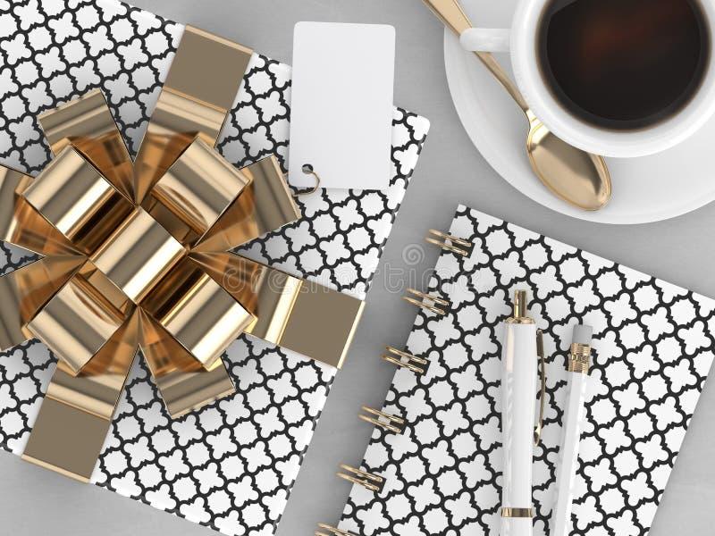 3d framför av gåva för bästa sikt, kaffe och kontorshjälpmedel vektor illustrationer