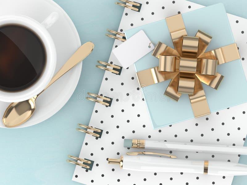 3d framför av gåva för bästa sikt, kaffe och kontorshjälpmedel stock illustrationer