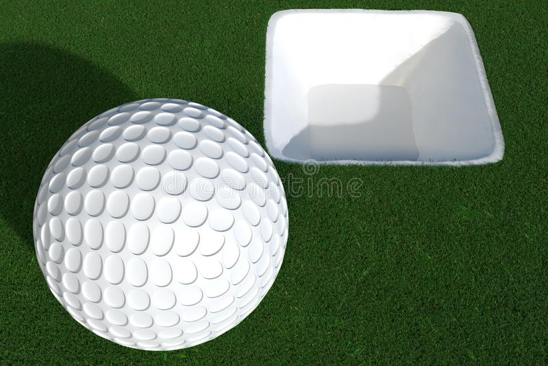 3d framför av golfboll främst av det vita hålet royaltyfri illustrationer