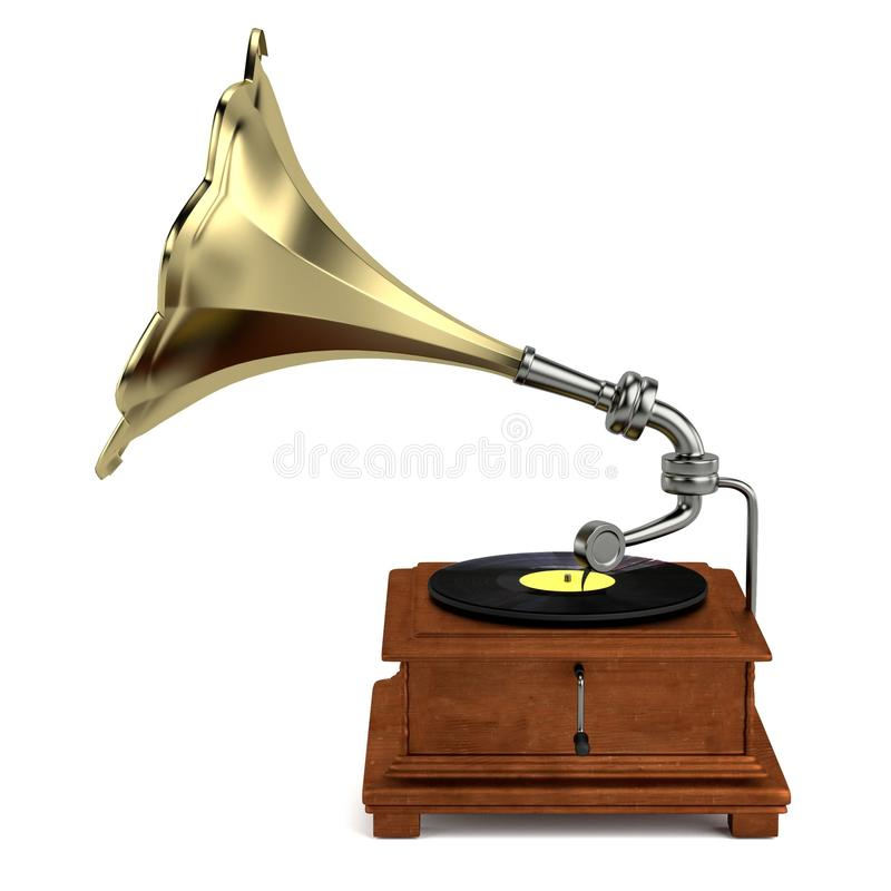 3d framför av grammofonen vektor illustrationer