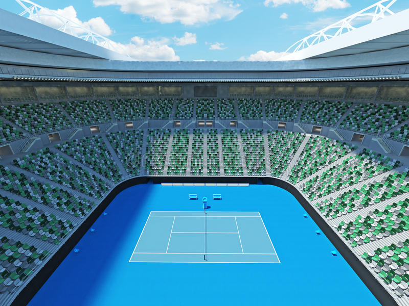 3D framför av härlig modern stadion för den storslagna slamen för tennis lookalike vektor illustrationer