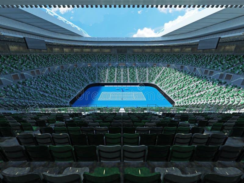 3D framför av härlig modern stadion för den storslagna slamen för tennis lookalike stock illustrationer