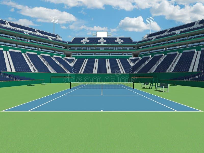 3D framför av härlig modern tennisstadion med hård domstolyttersida vektor illustrationer