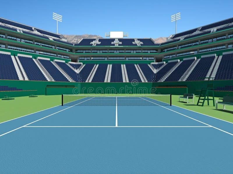 3D framför av härlig modern tennisstadion med hård domstolyttersida stock illustrationer