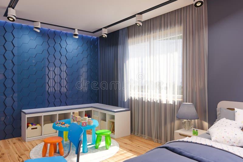 3d framför av inre för sovrummet för barn` s i djupblå färg stock illustrationer