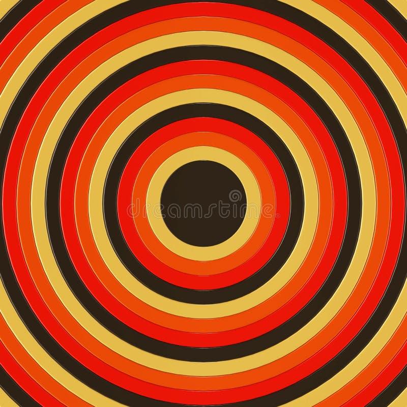 3D framför av koncentriska cirklar som i storlek incresing och att fylla ramen stock illustrationer
