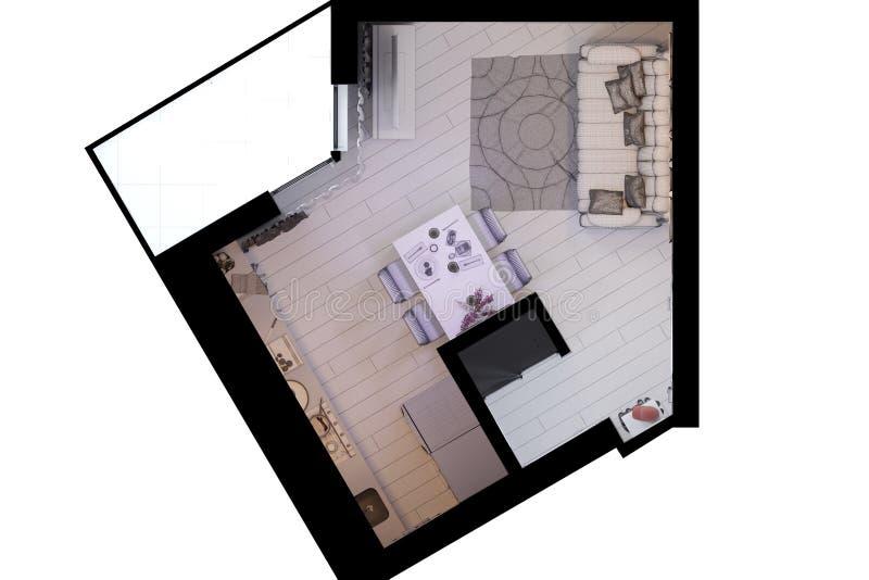 3d framför av liten lägenhetinredesign i en modern stil stock illustrationer