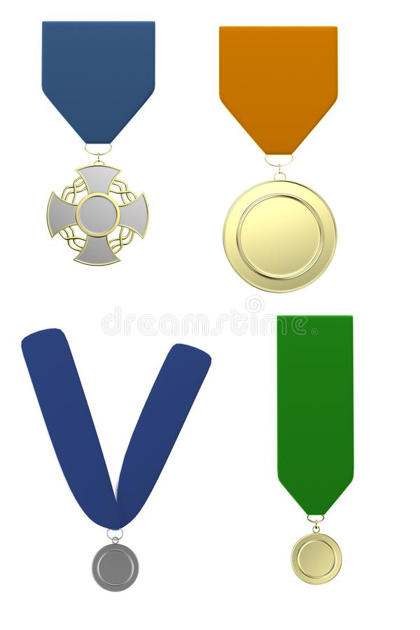 3d framför av medaljer royaltyfri illustrationer