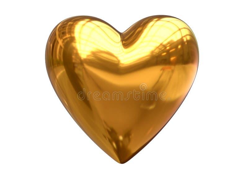 3D framför av metallisk guld- hjärtaform som isoleras på vit vektor illustrationer