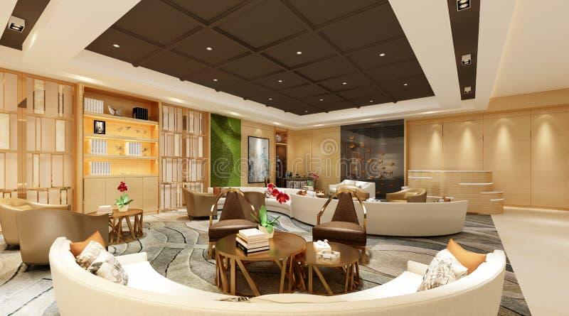 3d framför av modern hotelllobby royaltyfri illustrationer