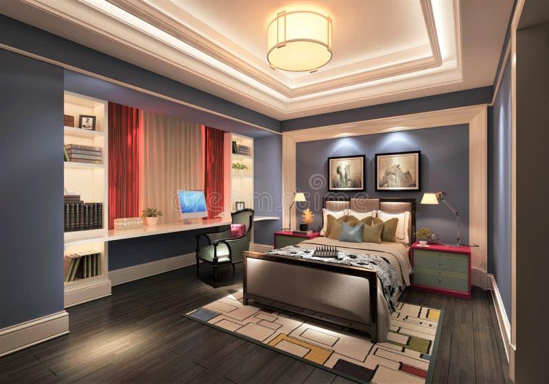 3D framför av modernt sovrum royaltyfri illustrationer