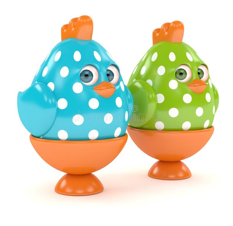 3d framför av påskfågelungar i ägghållare royaltyfri illustrationer