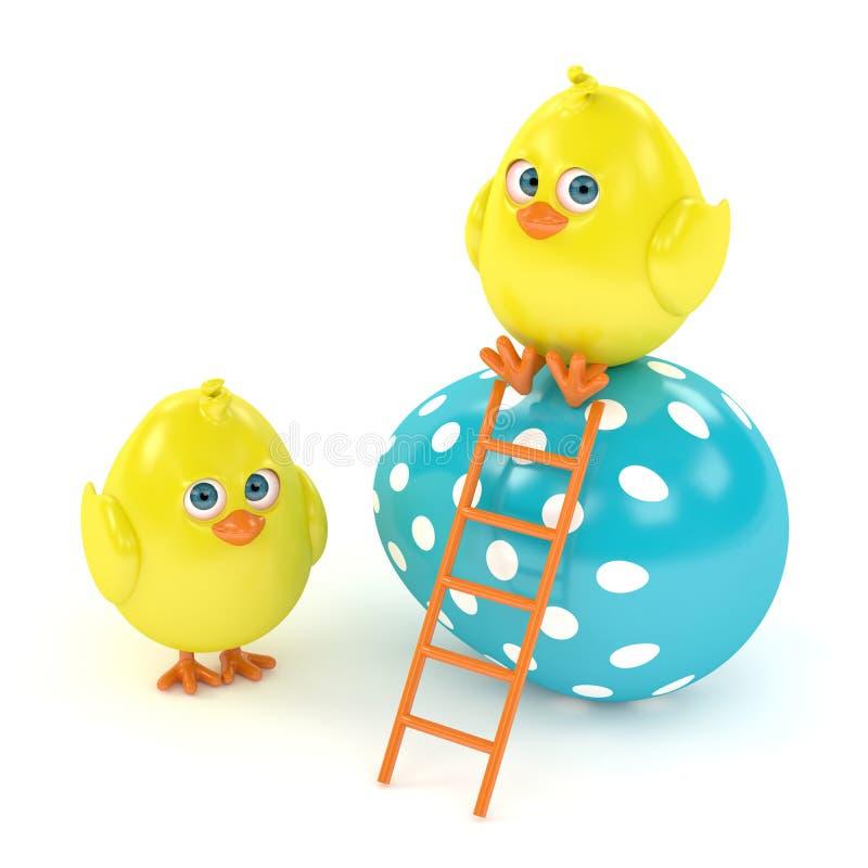 3d framför av påskfågelungar med målade ägg royaltyfri illustrationer
