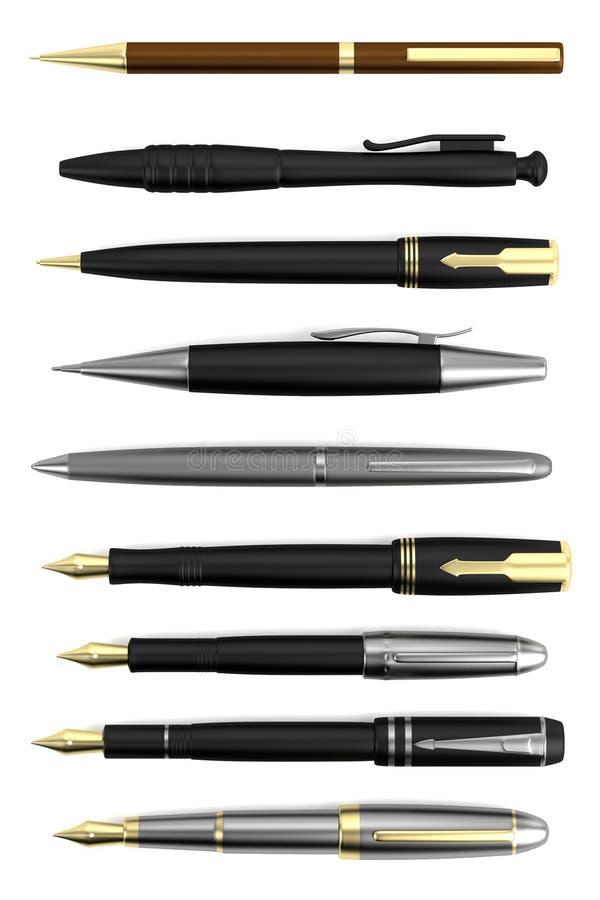 Download 3d framför av pennor stock illustrationer. Illustration av penna - 37348393