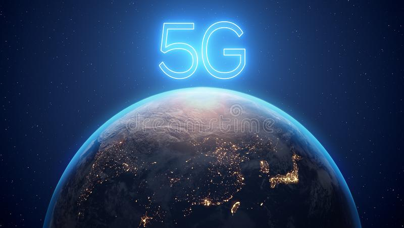 3d framför av planetjord, över den meddelandet 5G vektor illustrationer