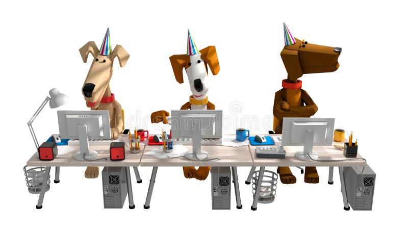 3d framför av rolig gullig hundkapplöpning som arbetar i kontoret bak comput stock illustrationer
