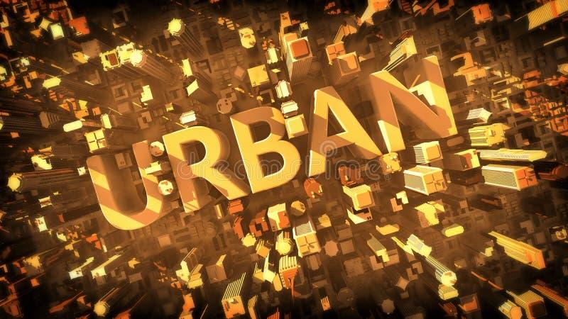 3D framför av stad stock illustrationer