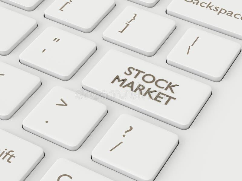 3d framför av tangentbordet med aktiemarknadknappen stock illustrationer