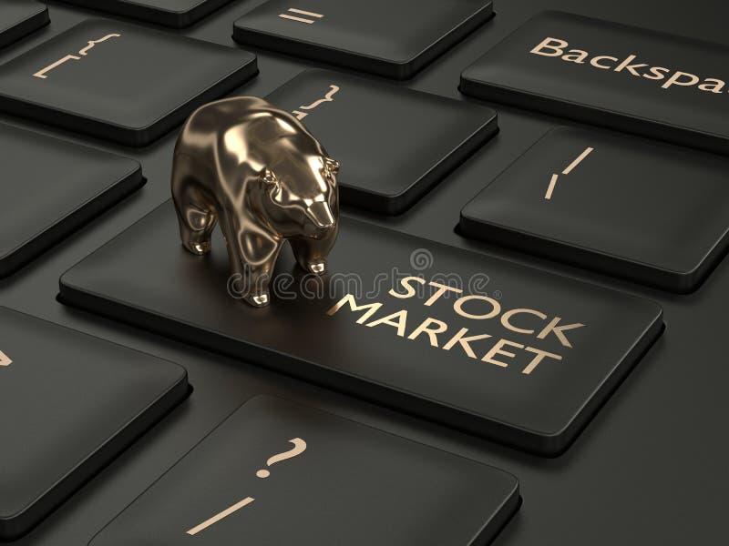 3d framför av tangentbordet med aktiemarknadknappen vektor illustrationer