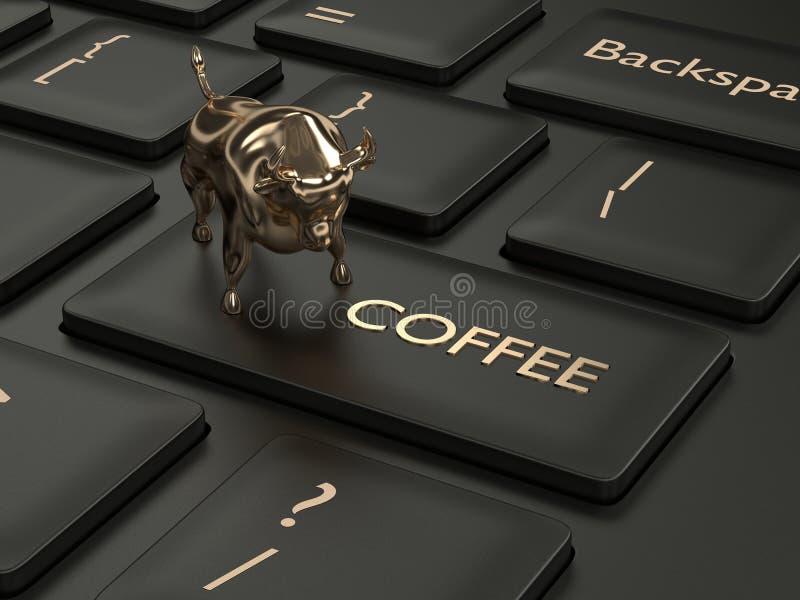 3d framför av tangentbordet med den kaffeknappen och tjuren vektor illustrationer