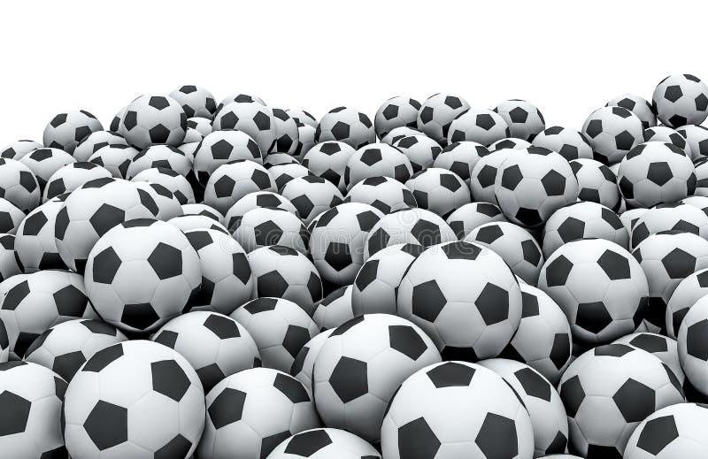Fotboll klumpa ihop sig högen stock illustrationer