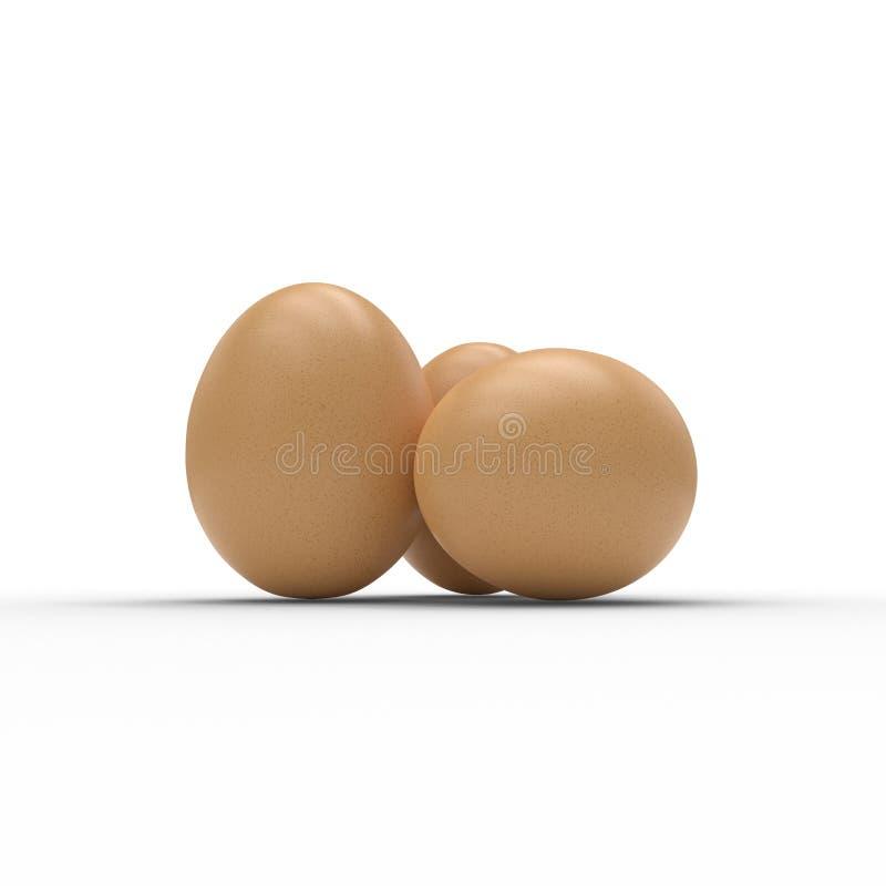 3D framför av tre ägg som isoleras på vit stock illustrationer