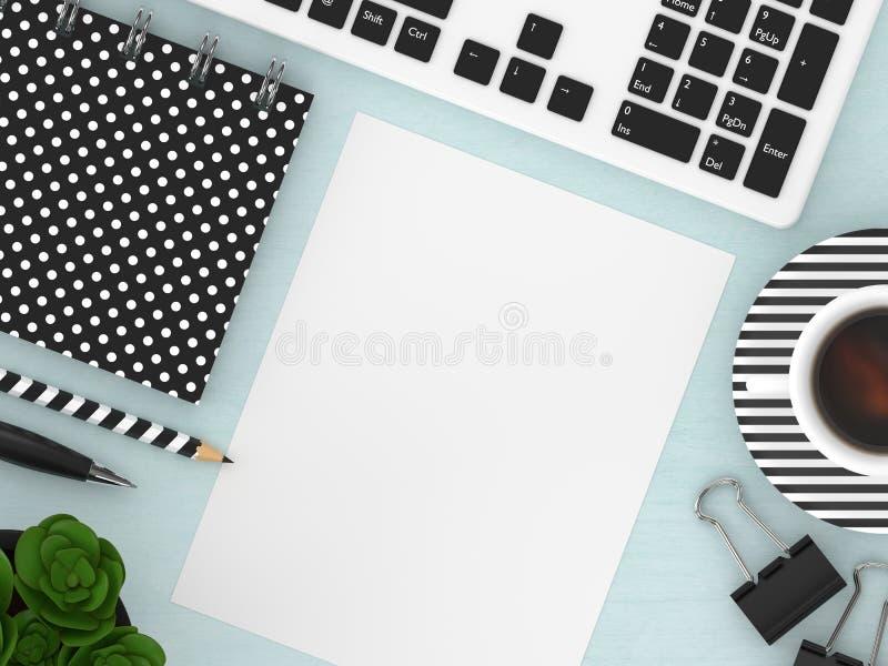 3d framför av workspace för bästa sikt med kontorshjälpmedel vektor illustrationer