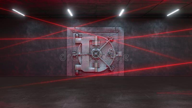 3d framför banken bevakas av ett laser-system stock illustrationer