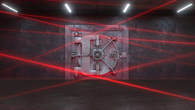 3d framför banken bevakas av ett laser-system vektor illustrationer
