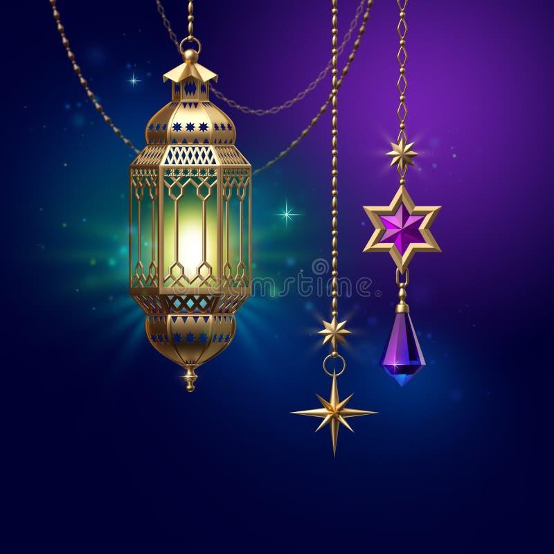 3d framför, dekorativa lyktor som hänger på guld- kedjor, det utsmyckade halvmånformigt som glöder den ljusa arabiska traditionel stock illustrationer