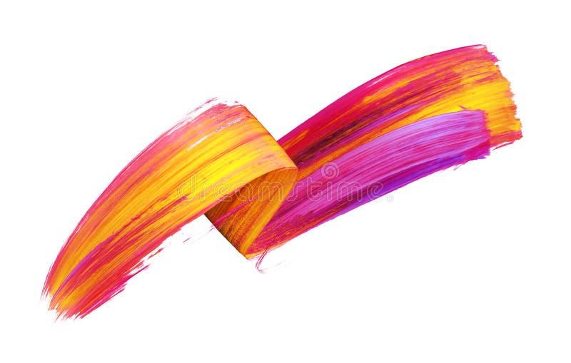 3d framför, den abstrakta borsteslaglängden, neonsuddet, det färgrika vikta bandet, gul röd målarfärgtextur, konstnärlig gemkonst royaltyfri illustrationer
