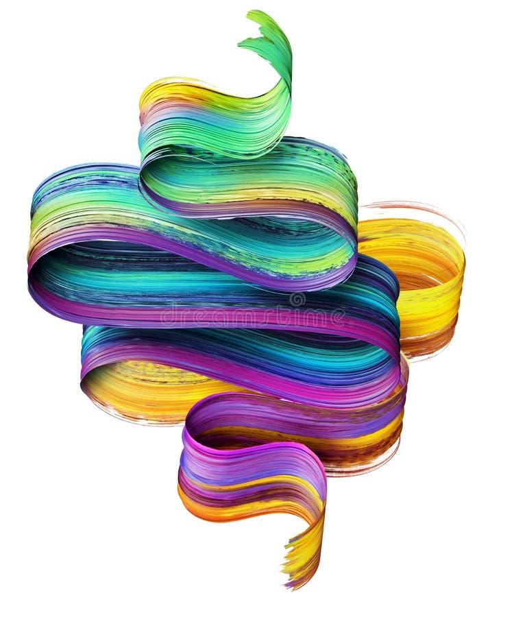 3d framför, den abstrakta borsteslaglängden, neonsuddet, det färgrika vikta bandet, målarfärgtextur, konstnärlig gemkonst som iso arkivfoto