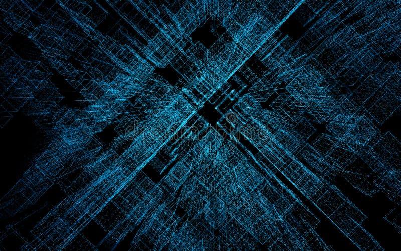 3D framför den abstrakta staden av partiklar, den tredimensionella matrisen, binär kod stock illustrationer