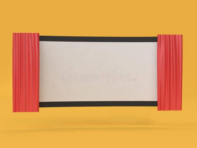 3d framför den abstrakta tomma film-bion skärmfilmen, bion, underhållningbegrepp vektor illustrationer