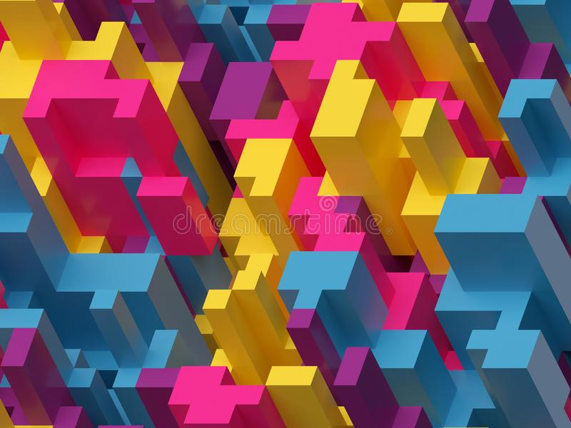 3d framför, den digitala illustrationen, rosa gul blått, färgrik abstrakt bakgrund, voxelmodell royaltyfri illustrationer
