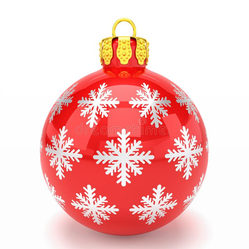 3d framför - den röda julstruntsaken över vit bakgrund stock illustrationer