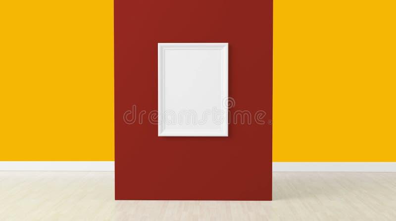 3d framför, den tomma ramen på mitten av den röda väggen royaltyfri illustrationer