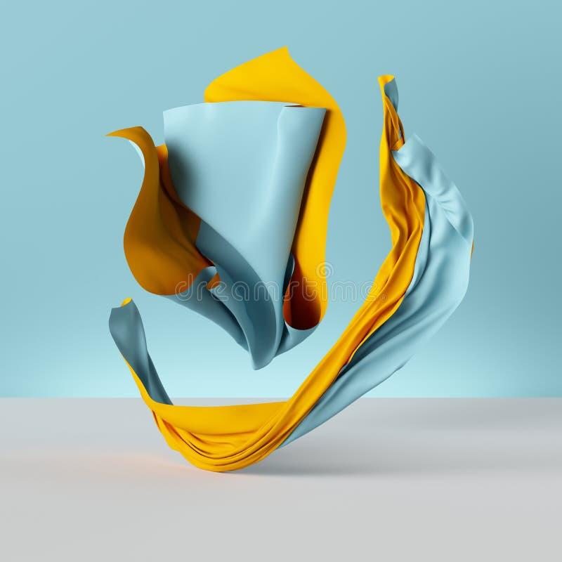 3d framför, den vikta torkduken, gul gardin som isoleras på blå bakgrund, textilen, tyg, gardinen, abstrakt modetapet royaltyfri illustrationer