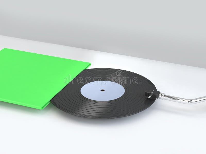 3d framför det abstrakta vita platsvinyldiskett-rekordet med den gröna tomma räkning-asken som förpackar minsta conce för teknolo stock illustrationer