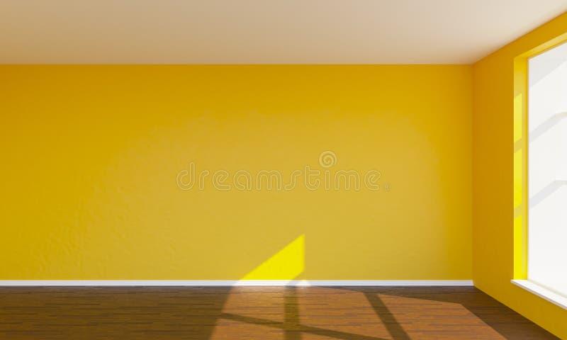 3d framför det orange sovrummet stock illustrationer