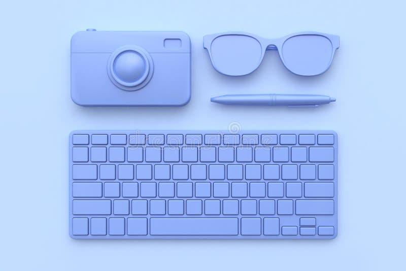 3d framför exponeringsglas för pennan för kameran för teknologibegreppstangentbordet lila-violetta all abstrakt plats för objekt royaltyfri illustrationer