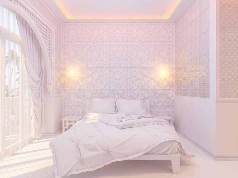3d framför för stilinre för sovrum islamisk design royaltyfri illustrationer