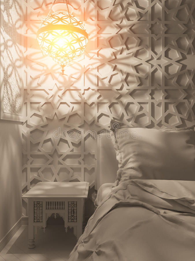 3d framför för stilinre för sovrum islamisk design vektor illustrationer