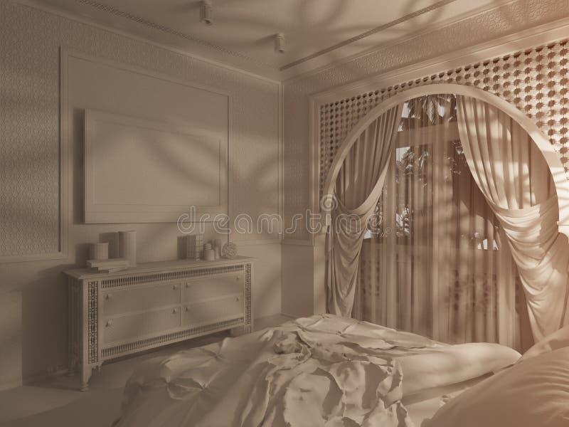 3d framför för stilinre för sovrum islamisk design stock illustrationer