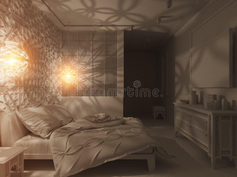 3d framför för stilinre för sovrum islamisk design royaltyfri fotografi