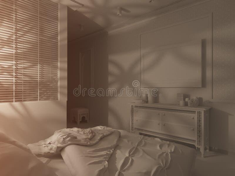 3d framför för stilinre för sovrum islamisk design royaltyfri foto